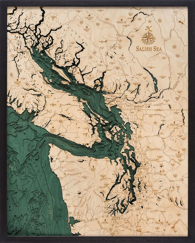 Salish Sea Nautical Topographic Art: Bathymetric Real Wood Decorative Chart