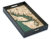 Salish Sea Nautical Real Wood Map Decorative Serving Tray
