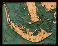 Custom Wood Charts of Sanibel Island from Carved Lake Art: Nautical Gifts & Depth Charts