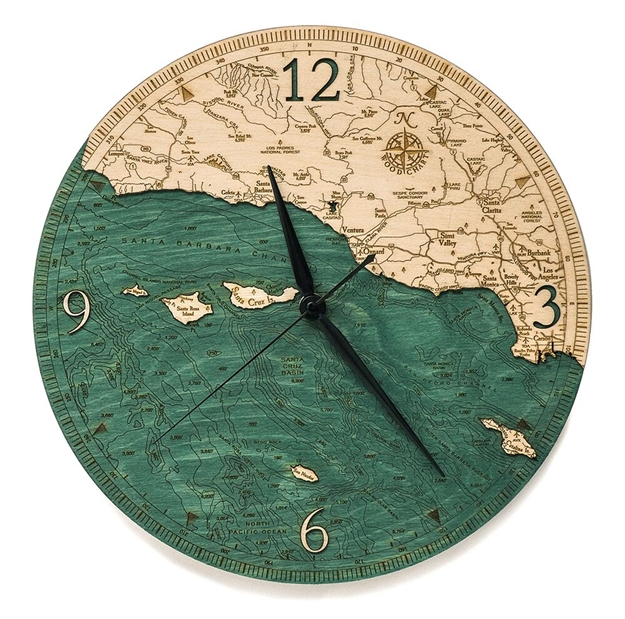 Santa Barbara Real Wood Decorative Clock