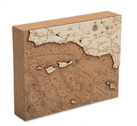 Santa Barbara Cork Map Nautical Topographic Art