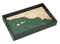 Santa Barbara Nautical Real Wood Map Decorative Serving Tray