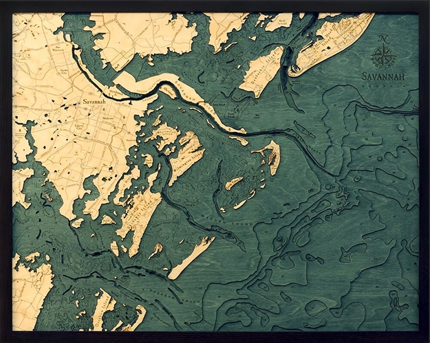 Savannah Nautical Topographic Art Bathymetric Wood Chart