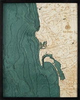 San Diego 3D Nautical Real Wood Map Depth Decorative Chart