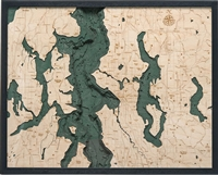 Seattle Nautical Topographic Art: Bathymetric Real Wood Decorative Chart | Dark Frame