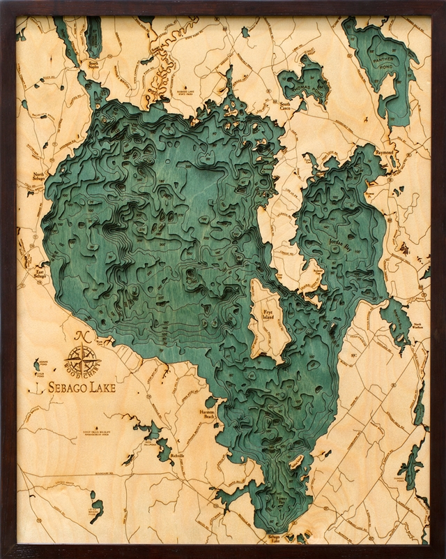 Sebago Lake Nautical Topographic Art: Bathymetric Real Wood Decorative Chart