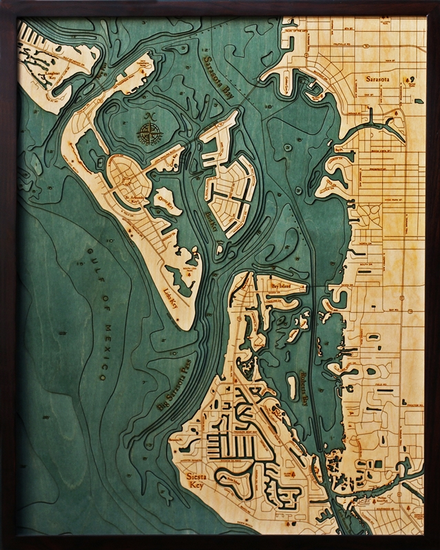 Siesta Key Nautical Topographic Art: Bathymetric Real Wood Decorative Chart