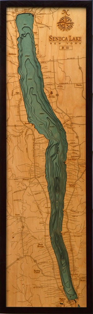 Seneca Lake Nautical Topographic Art: Bathymetric Real Wood Decorative Chart
