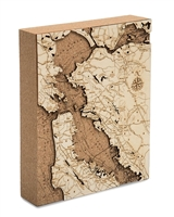 San Francisco Cork Map Nautical Topographic Art
