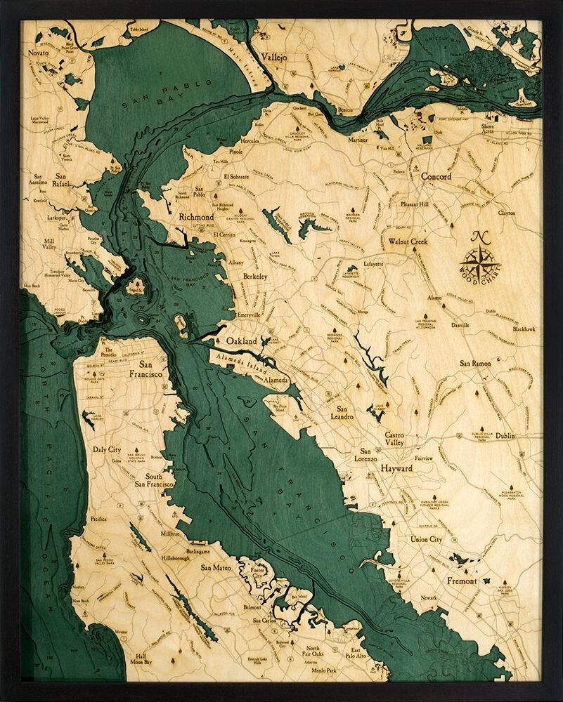 Artistic Nautical Wood Carved Chart San Francisco Bay