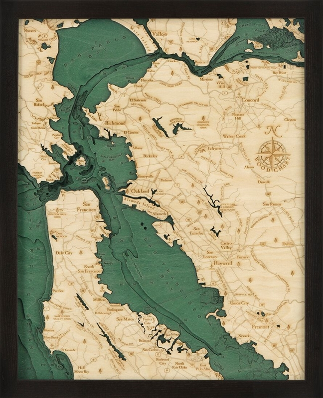 3D Artistic Nautical Wood Carved Chart: San Francisco Bay