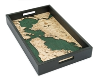 San Francisco Bay Nautical Real Wood Map Decorative Serving Tray