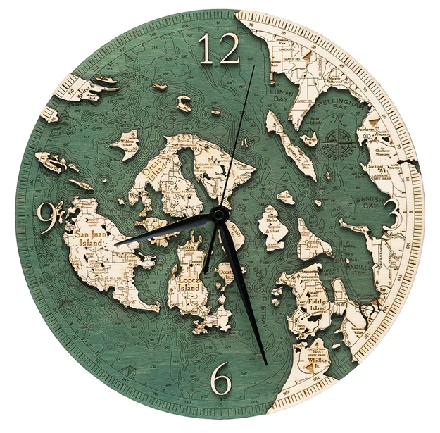 3D San Juan Islands Real Wood Decorative Clock
