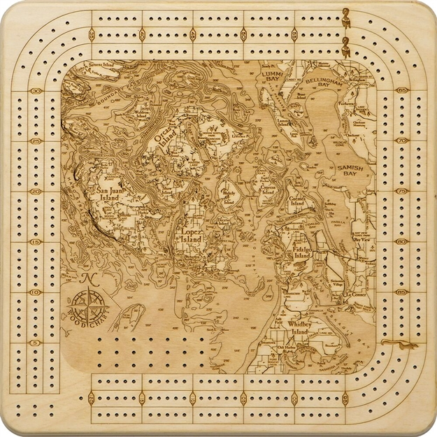 San Juan Islands Real Wood Decorative Cribbage Board