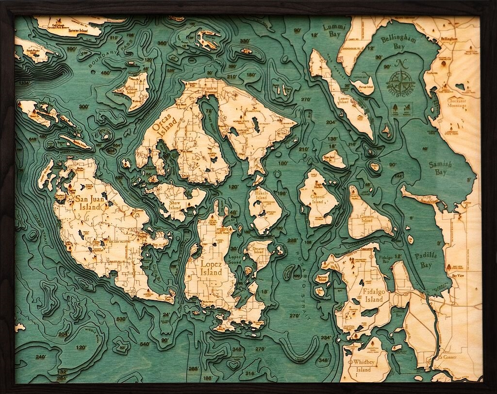 Custom Wood Charts of the San Juan Islands from Carved Lake Art