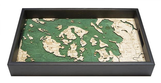 San Juan Islands Nautical Real Wood Map Decorative Serving Tray