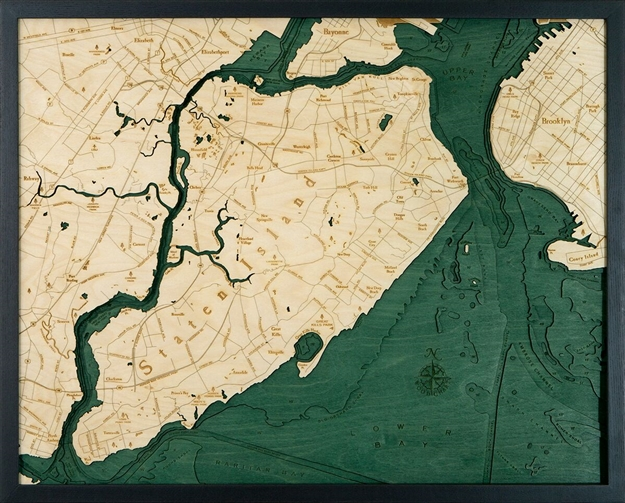 3D Staten Island Nautical Real Wood Map Depth Decorative Chart