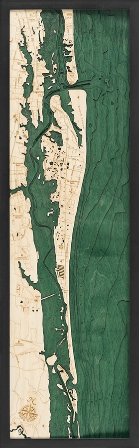 St. Augustine Nautical Topographic Art: Bathymetric Real Wood Decorative Chart