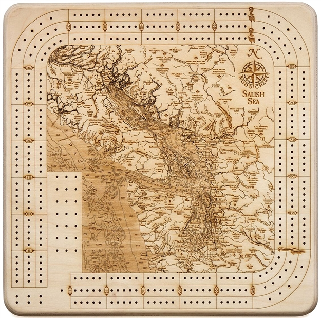 Salish Sea Real Wood Decorative Cribbage Board