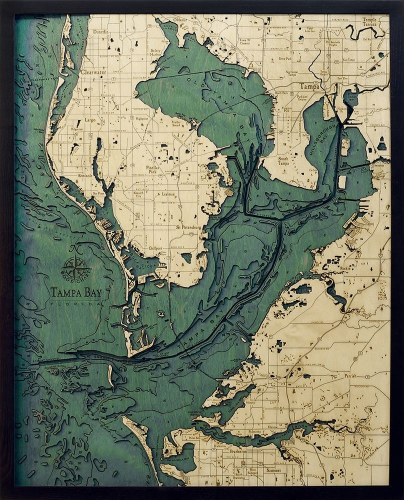 Map Of Tampa Bay Florida.Tampa Bay 3 D Nautical Wood Chart 24 5 X 31