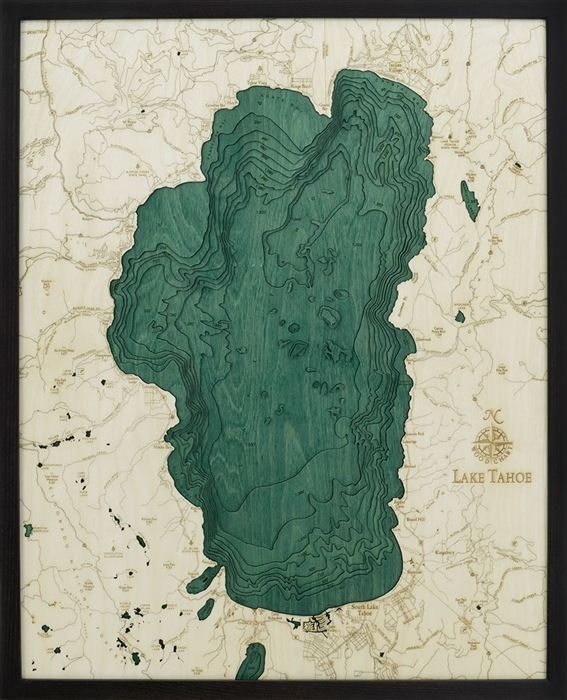 Lake Tahoe wood nautical chart map