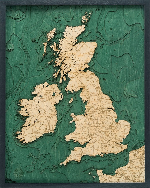 United Kingdom Nautical Topographic Art: Bathymetric Real Wood Decorative Chart