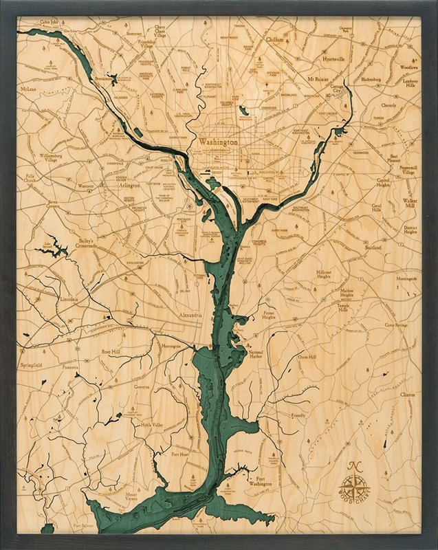 Washington D.C. Nautical Topographic Art: Bathymetric Real Wood Decorative Chart