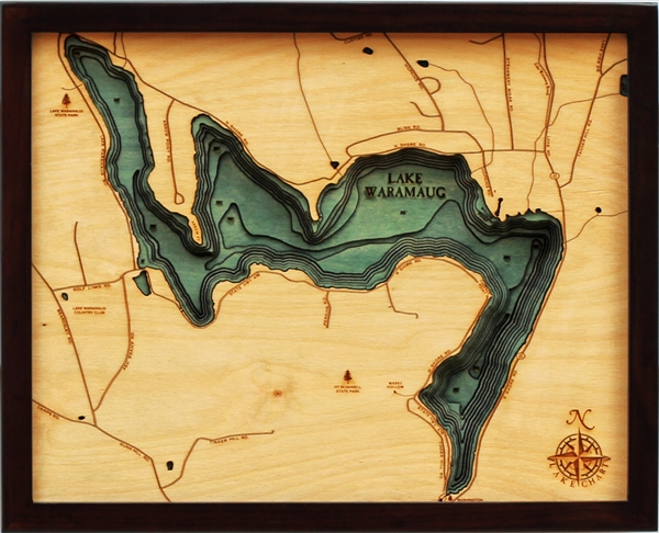 3D Lake Waramaug Nautical Real Wood Map Depth Decorative Chart