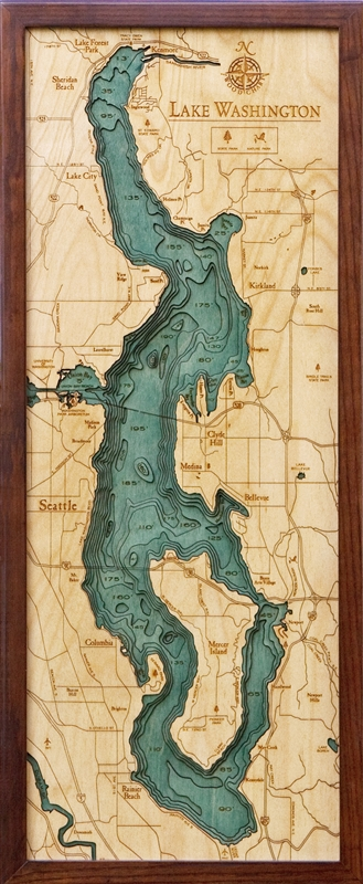 3D Lake Washington Nautical Real Wood Map Depth Decorative Chart