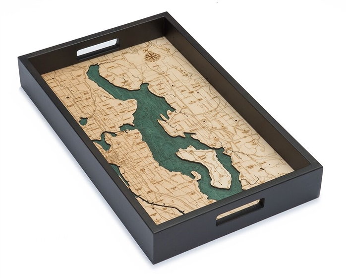 Lake Washington Nautical Real Wood Map Decorative Serving Tray