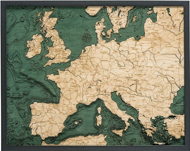 3D Western Europe Nautical Real Wood Map Depth Decorative Chart