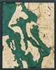 Whidbey & Camano Islands Nautical Topographic Art: Bathymetric Real Wood Decorative Chart