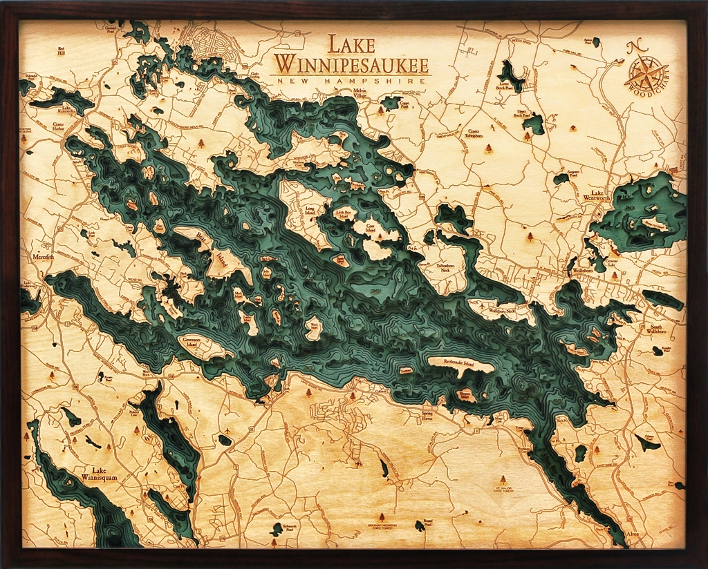 Custom Wood Charts of Lake Winnipesaukee from Carved Lake Art