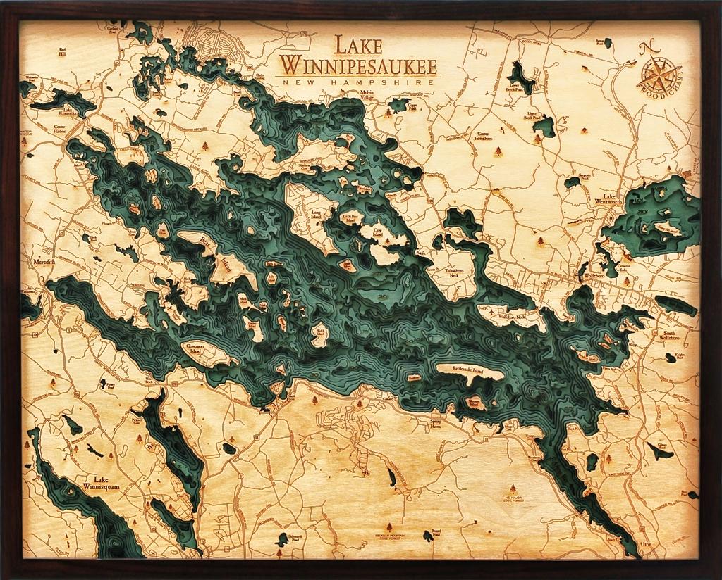 Custom Wood Charts of Lake Winnipesaukee from Carved Lake Art ...