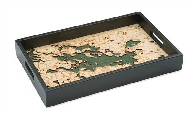Lake Winnipesaukee Nautical Real Wood Map Decorative Serving Tray