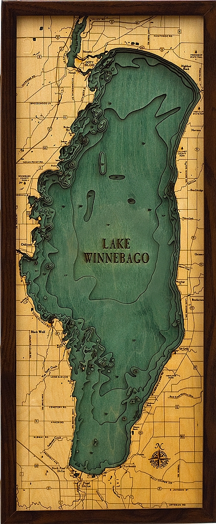 Lake Winnebago Map Lake Winnebago Depth Map | Wood Topographic Lake Map Lake Winnebago Map