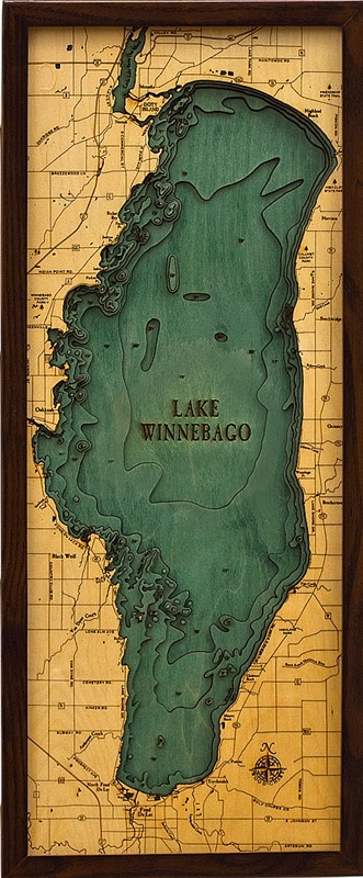 Lake Winnebago Nautical Topographic Art: Bathymetric Real Wood Decorative Chart