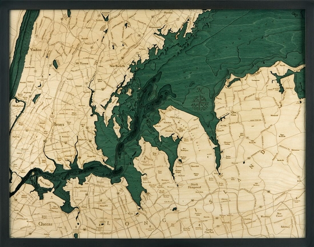 West Long Island Sound Nautical Topographic Art: Bathymetric Real Wood Decorative Chart