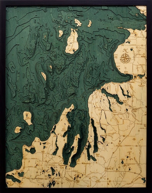 3D Northwest Michigan Nautical Real Wood Map Depth Decorative Chart