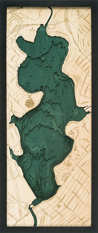 White Rock Lake Nautical Topographic Art: Bathymetric Real Wood Decorative Chart