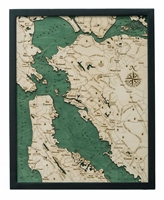 San Francisco Bay Nautical Topographic Art: Bathymetric Real Wood Decorative Chart