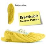 Yellow Fabric Shoe Covers with Traction 7FWT-80HC
