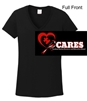 Black Short Sleeve V-Neck Cotton T-Shirt (Ladies)