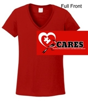 Red Short Sleeve V-Neck Cotton T-Shirt (Ladies)