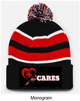 Black, Red and White Loose-Fit Pom-Pom Knit Hat