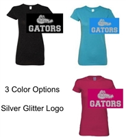 Short Sleeve Glitter Cotton T-Shirt (Ladies and Youth) GLITTER Logo