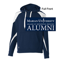 Navy and White Cotton Polyester Hooded Sweatshirt (Adult)