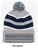 Heaher, Navy and White Loose-Fit Pom-Pom Knit Hat