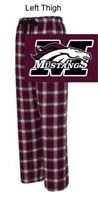 Maroon and White Plaid Flannel Pants (Adult and Youth)