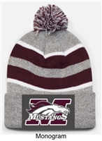 Heaher, Maroon and White Loose-Fit Pom-Pom Knit Hat